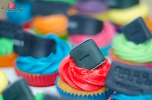 Red cupcake with computer mouse decoration