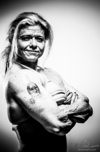 Tamara Makar female bodybuilder black and white