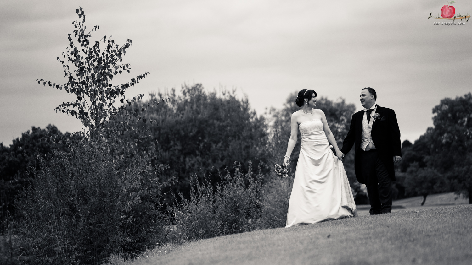 Bride and groom wedding walk shot with Nikon D810
