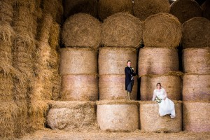 A proper barn wedding photo, lit with a single Interfit S1